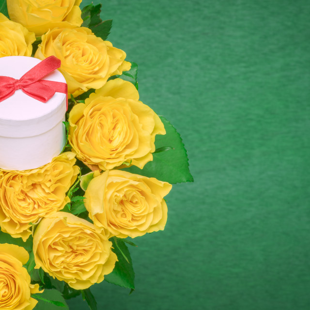 """""""Roses bouquet and a gift box"""" stock image"""