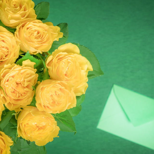"""""""Yellow roses bouquet and a letter"""" stock image"""