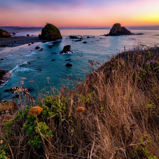 """""""Sunset at a Rocky Northern California Beack"""" stock image"""