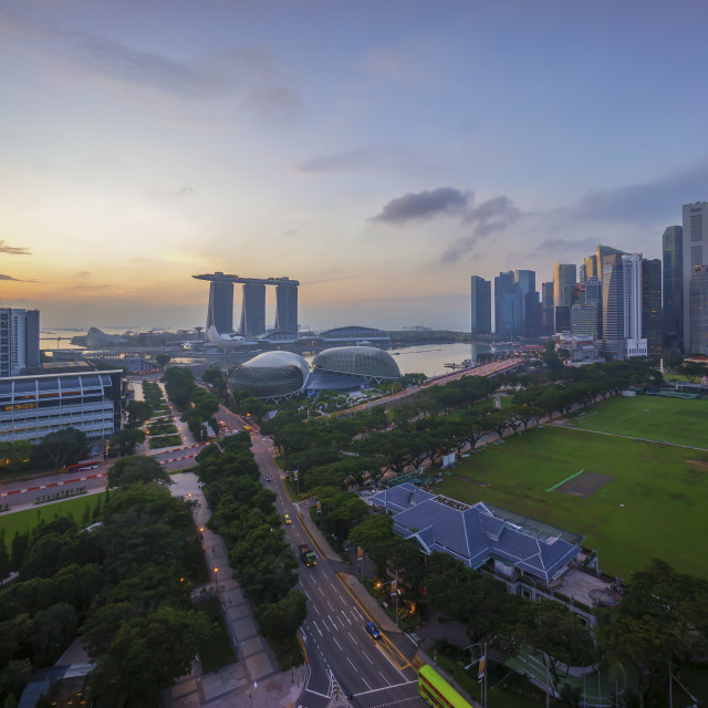 """Aerial view of sunrise at Marina Bay Singapore city skyline"" stock image"