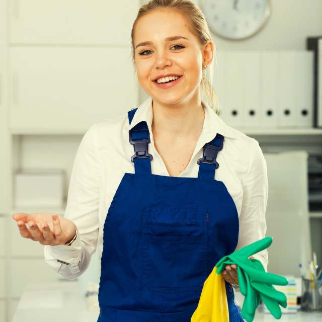 """""""Girl in overall ready to cleaning"""" stock image"""