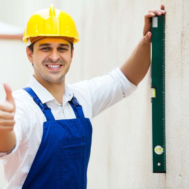 """""""Specialist making wall plane"""" stock image"""