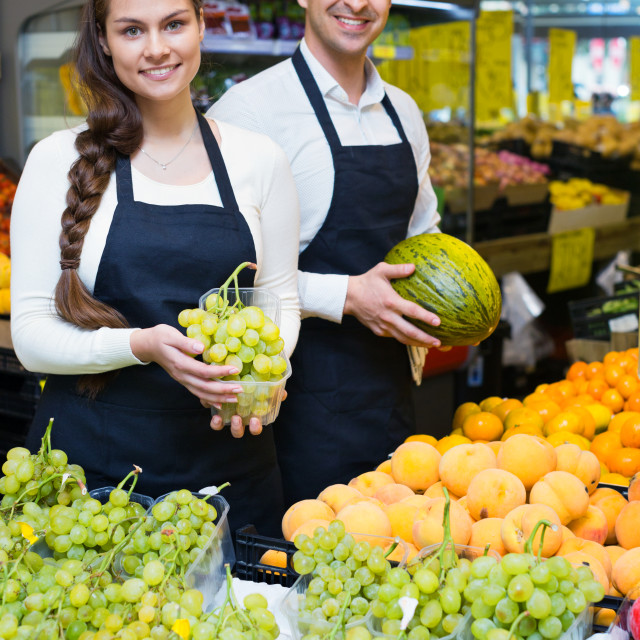 """""""Positive sellers offering good price for fruits"""" stock image"""