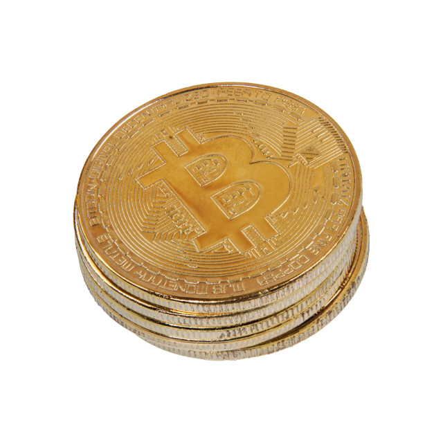 """Gold Bitcoins on a white background"" stock image"