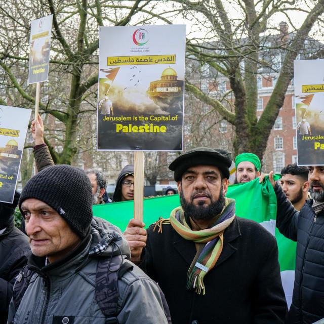 """'Hands off my Jerusalem' rally outside US embassy, London, UK"" stock image"