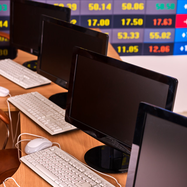 """""""Business monitor pc office. Stock market digital graph chart display ."""" stock image"""