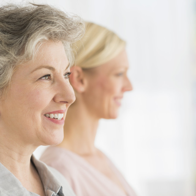 """""""Profiles of two mature women"""" stock image"""