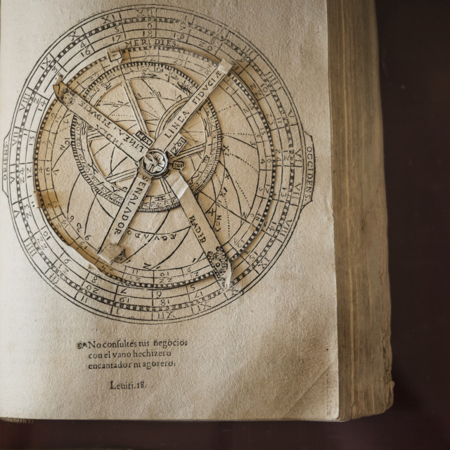 """""""Volvelle from ancient manuscript, Library in monastery"""" stock image"""