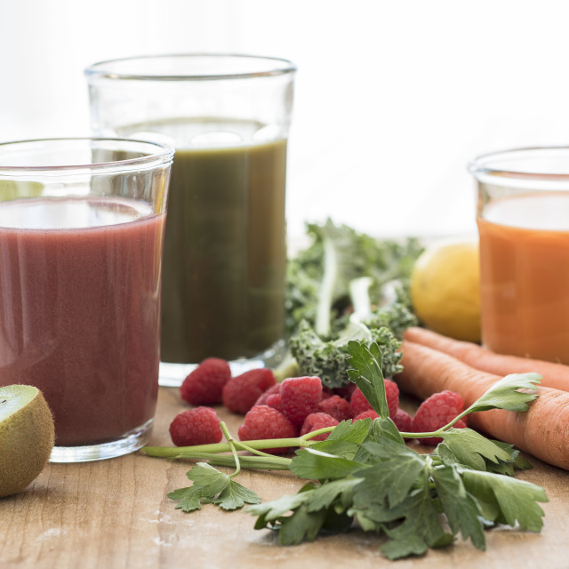 """""""Studio shot of fruit and vegetable juices"""" stock image"""