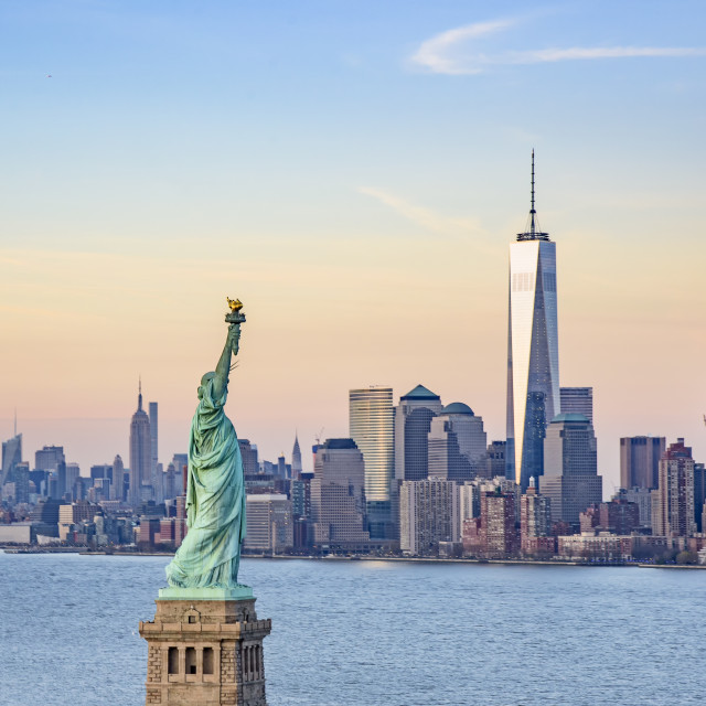 """""""Statue of Liberty and One World Trade Centre"""" stock image"""
