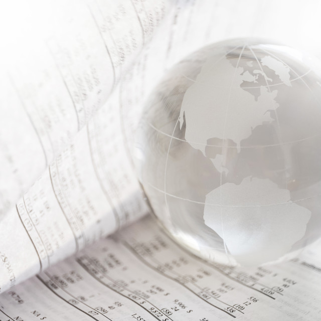 """""""Financial newspaper with crystal ball"""" stock image"""