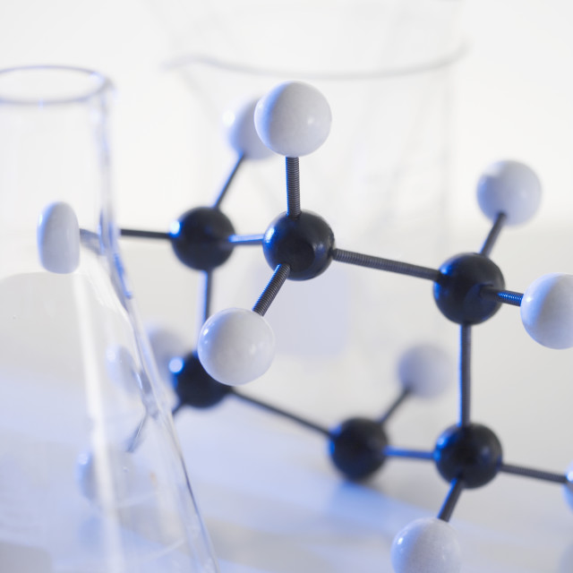 """""""Still life of molecular structure and beakers"""" stock image"""