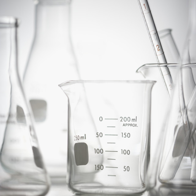 """""""Still life of beakers in lab"""" stock image"""