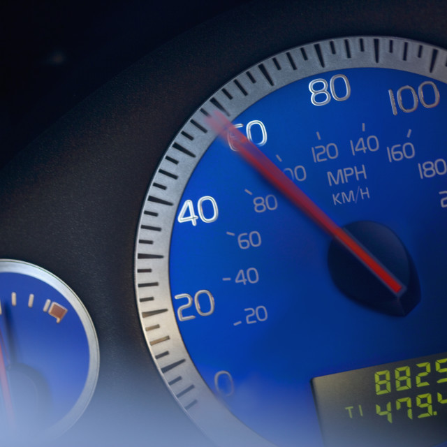 """Close-up of speedometer"" stock image"