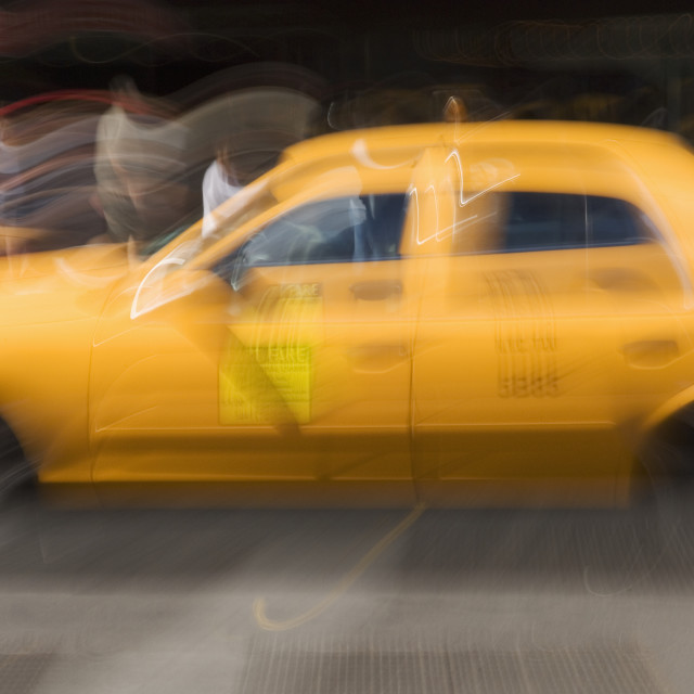 """""""Taxi cab on street in New York NY"""" stock image"""