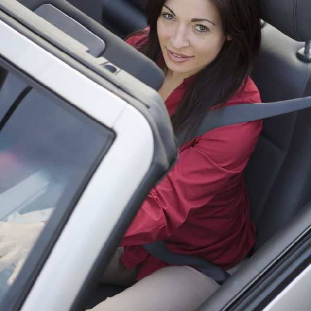 """Woman driving a car"" stock image"