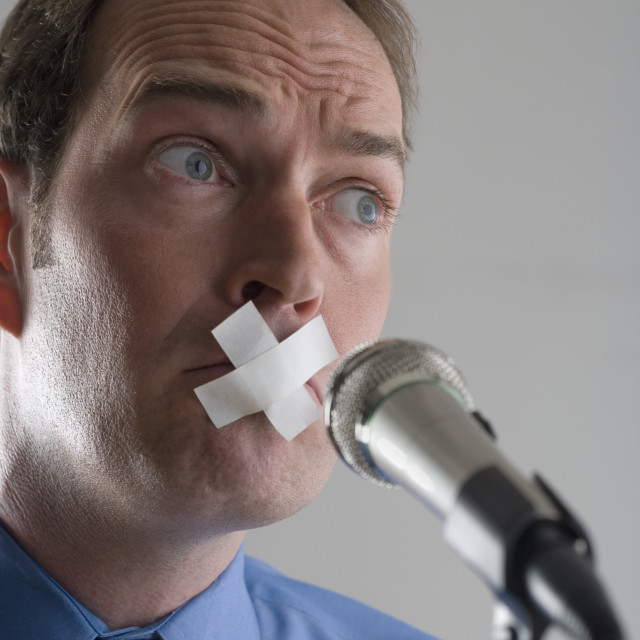 """""""Man prevented from speaking"""" stock image"""