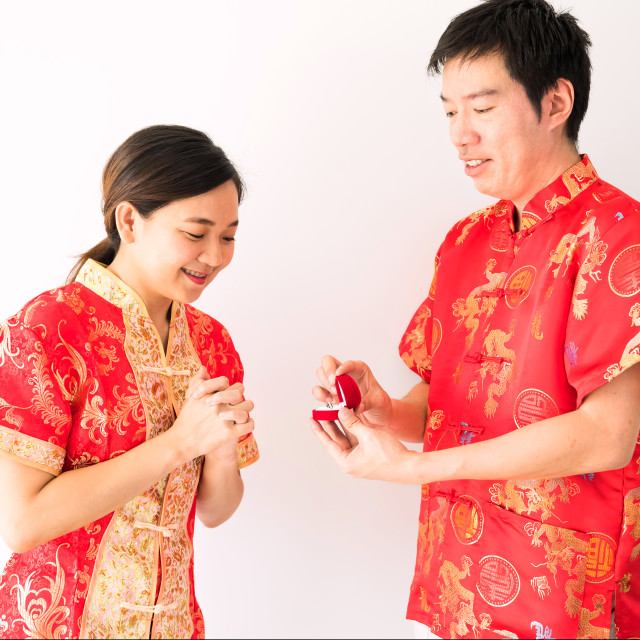 """""""Chinese guy show ring for Mariage proposal"""" stock image"""
