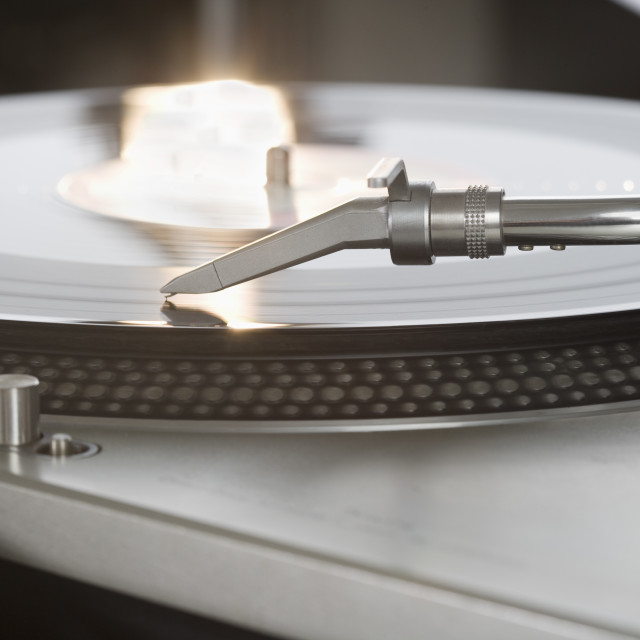 """""""Closeup of a turntable and record"""" stock image"""