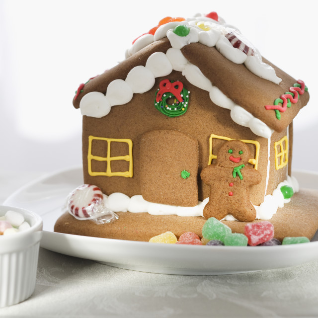 """""""Close up of gingerbread house"""" stock image"""