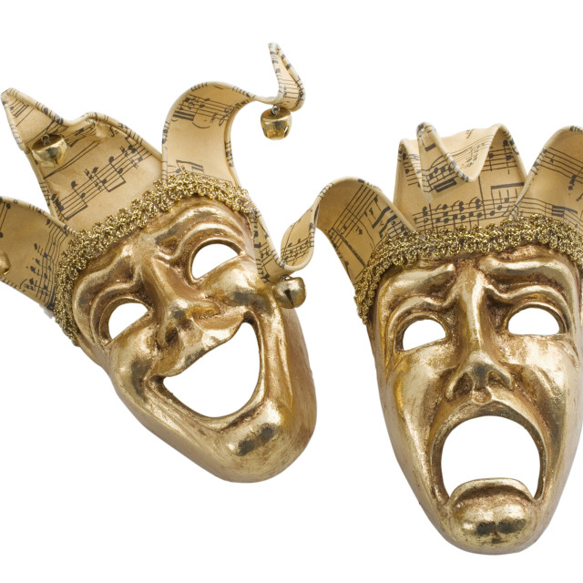 """Gold comedy and tragedy masks"" stock image"