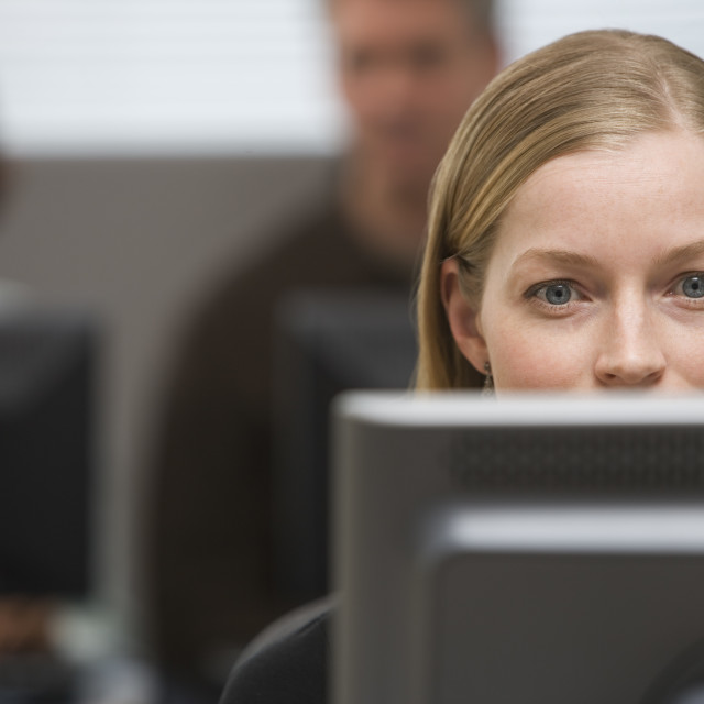 """""""Businesswoman looking at computer"""" stock image"""
