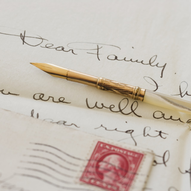 """Quill pen on old letter"" stock image"