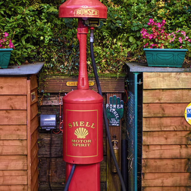 """Antique petrol pump"" stock image"
