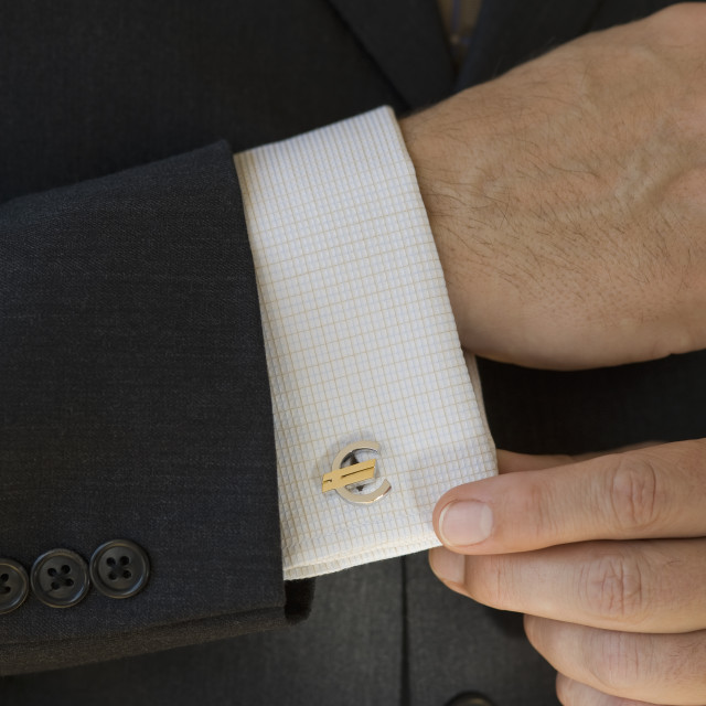 """""""Close up of businessman with euro cuff link"""" stock image"""