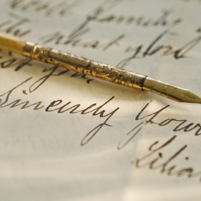 """Antique pen and handwriting"" stock image"