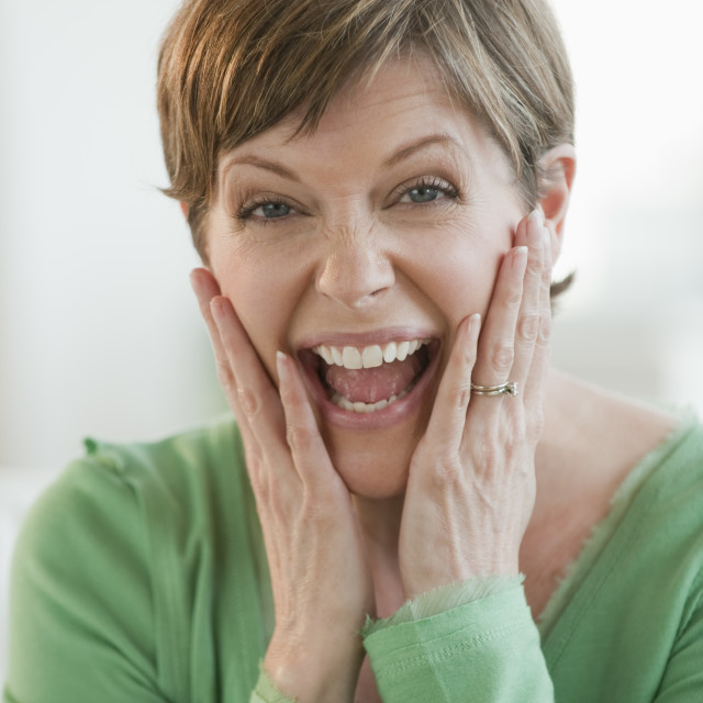 """Woman laughing"" stock image"