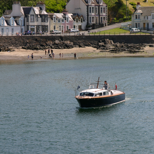 """Boat arriving in Portpatrick"" stock image"