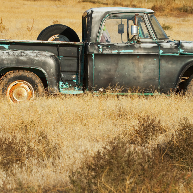 """Vintage pickup truck in field"" stock image"