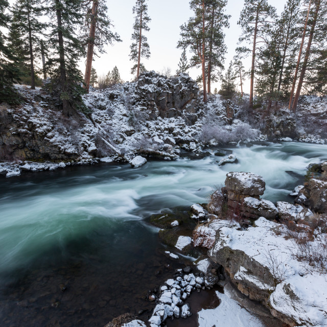 """Deschutes River in winter"" stock image"