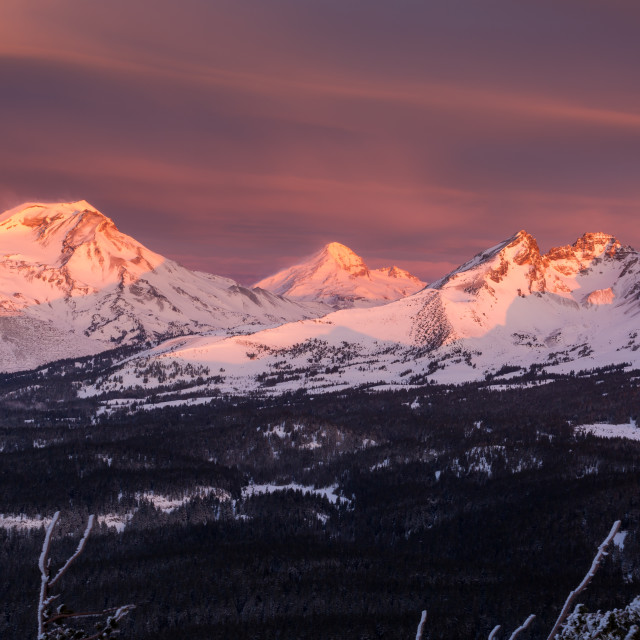"""Three Sisters Wilderness Sunrise."" stock image"