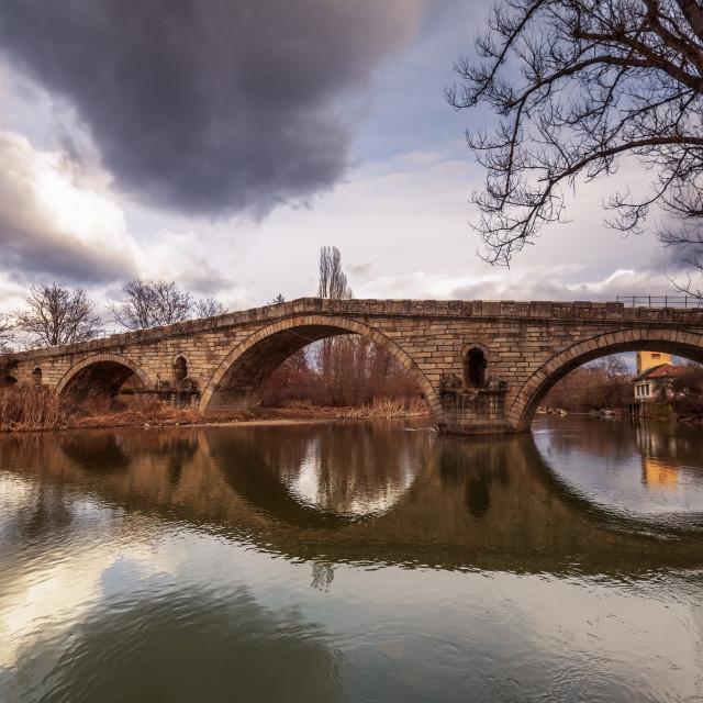 """Bridge over the Struma River at Nevestino, Kyustendil Province,"" stock image"