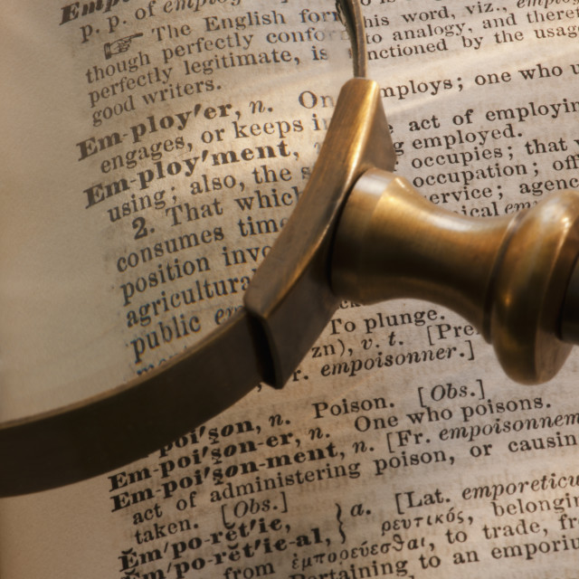 """""""Magnifying glass over dictionary"""" stock image"""
