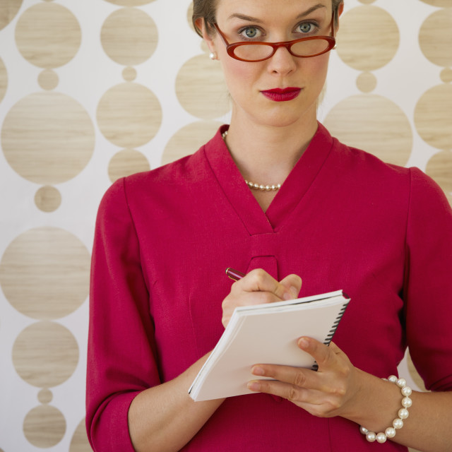 """""""Kitsch looking secretary taking dictation"""" stock image"""