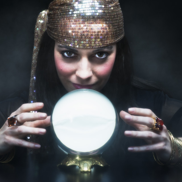 """""""Gypsy woman with crystal ball"""" stock image"""