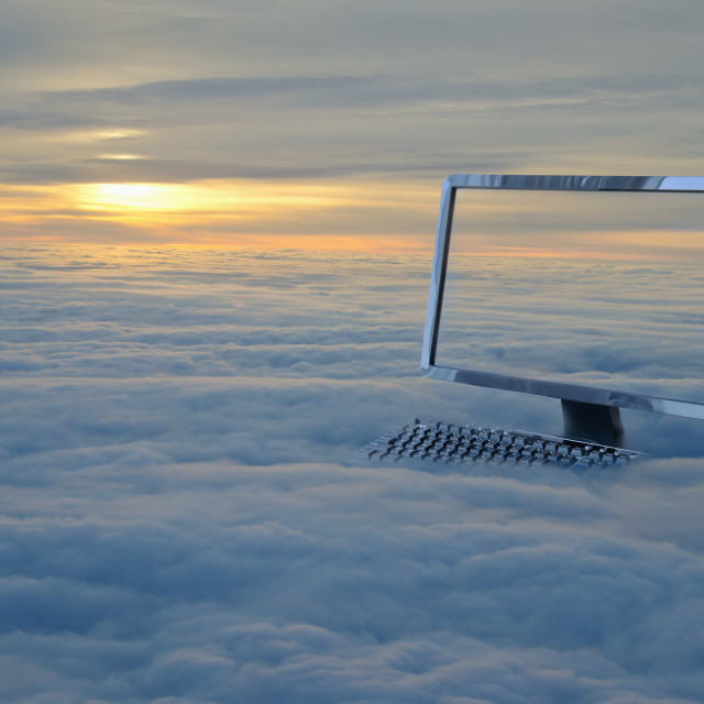 """""""Computer monitor in clouds"""" stock image"""