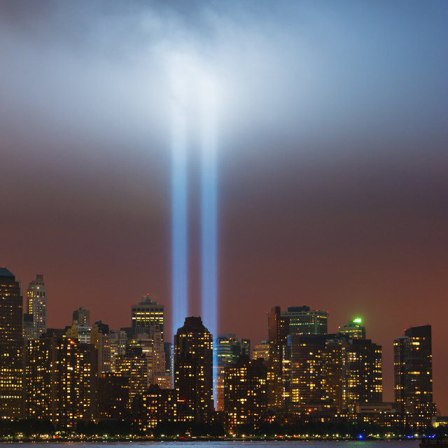 """""""USA, New York, New York City, Cityscape at night with tribute in light"""" stock image"""