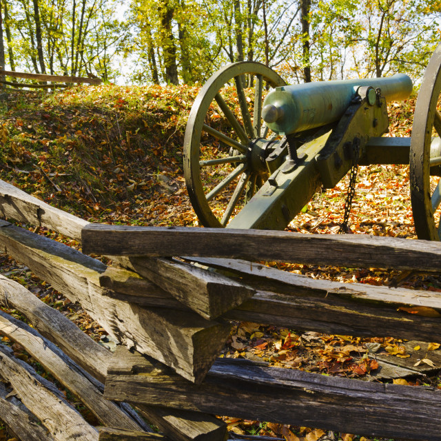 """USA, Georgia, Kennesaw, Cannon at Kennesaw Battlefield Park"" stock image"