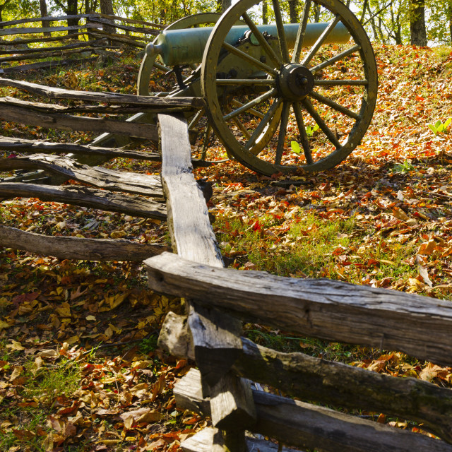 """""""USA, Georgia, Kennesaw, Cannon at Kennesaw Battlefield Park"""" stock image"""