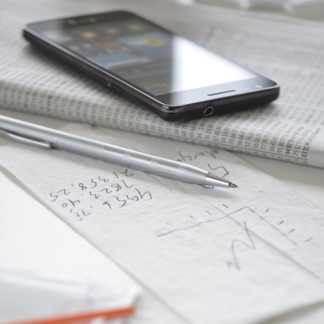 """Smartphone with stationery"" stock image"