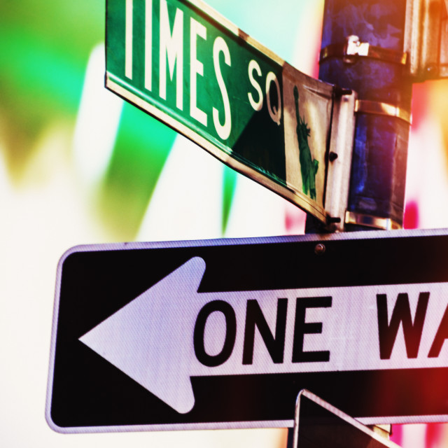 """""""Directional signs at night"""" stock image"""
