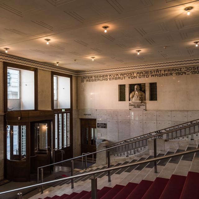 """Entrance to Austrian Postal Savings Bank building in Vienna"" stock image"