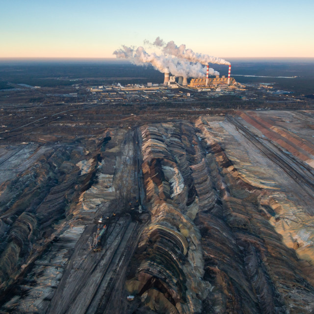 """Aerial view of open-cast coal mine Belchatow, Poland"" stock image"