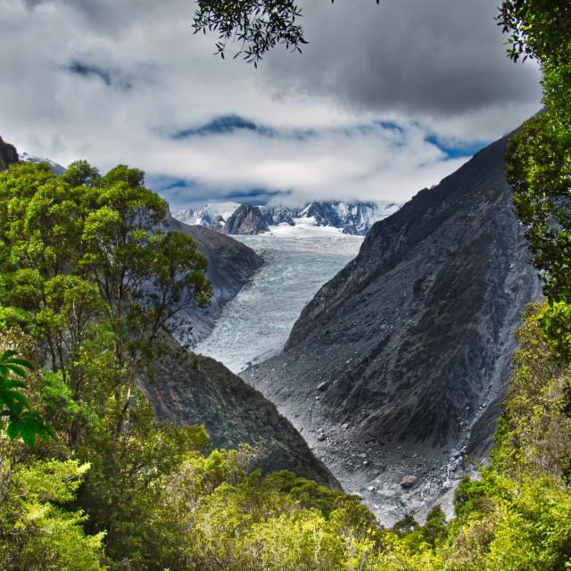 """""""Fox Glacier/Te Moeka o Tuawe"""" stock image"""