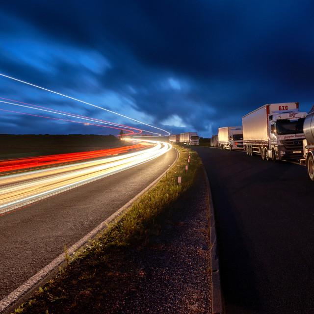 """Woodhead Pass night time light trails"" stock image"