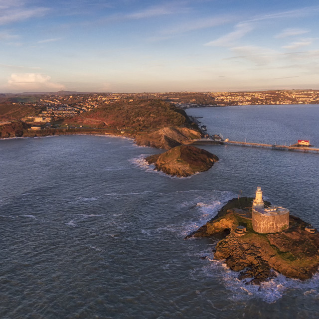 """""""Mumbles lighthouse in Swansea"""" stock image"""